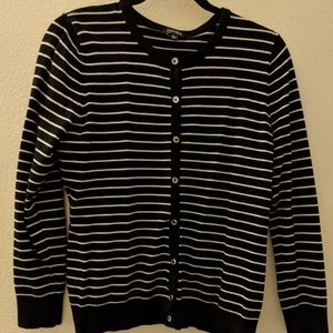 Black an white striped cardigan w silver buttons.